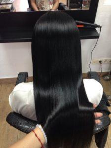 Кератиновое выпрямление волос длинные волосы, потрясающий результат